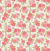 Lewis & Irene Island Girl - 5305 - Pink & Coral Hibiscus Floral on White - A192.2 - Cotton Fabric